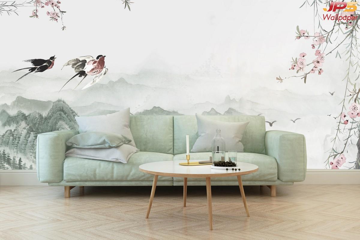 ภาพมงคลติดห้อง  ลายทิวทัศน์ภูเขา เสริมฮวงจุ้ย ติดผนังห้องนั่งเล่น แบบที่ 1-EX