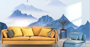 ภาพมงคลติดห้อง ลายทิวทัศน์ภูเขาหน้าหนาว ยามพระอาทิตย์ขึ้น ติดผนังห้องนั่งเล่น แบบที่ 20-EX