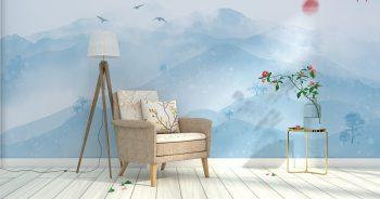 ภาพมงคลแต่งบ้าน ลายภูเขาในหน้าหนาว เมฆหมอกจางๆ ดูสวยงาม ติดผนังห้องนั่งเล่น แบบที่ 21-EX