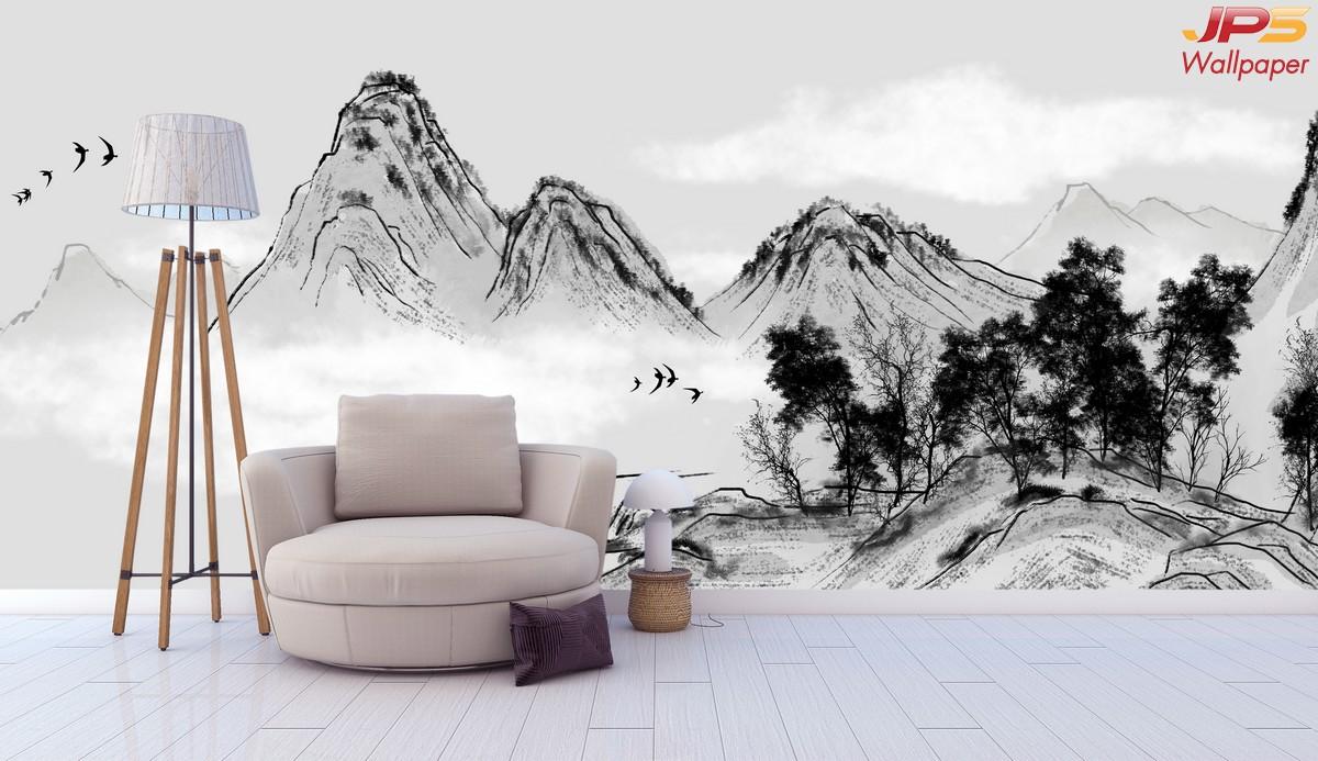 ภาพมงคลแต่งบ้าน ลายเทือกเขาสูง เสริมฮวงจุ้ย สไตส์จีนโบราณ ติดผนังห้องนั่งเล่น  แบบที่ 5-EX