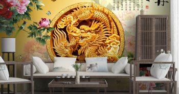 ภาพมงคลเรียกทรัพย์ ลายมังกรจีนโบราณสีทอง เสริมความแข็งแกร่ง ติดผนังห้องนั่งเล่น แบบที่ 10-EX