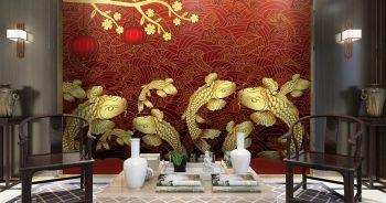 ภาพพิมพ์เสริมมงคล ลายปลาคาร์ฟทองเก้าตัว แบบจีนโบราณ พื้นหลังสีแดง ติดผนังห้องนั่งเล่น แบบที่ 108-EX