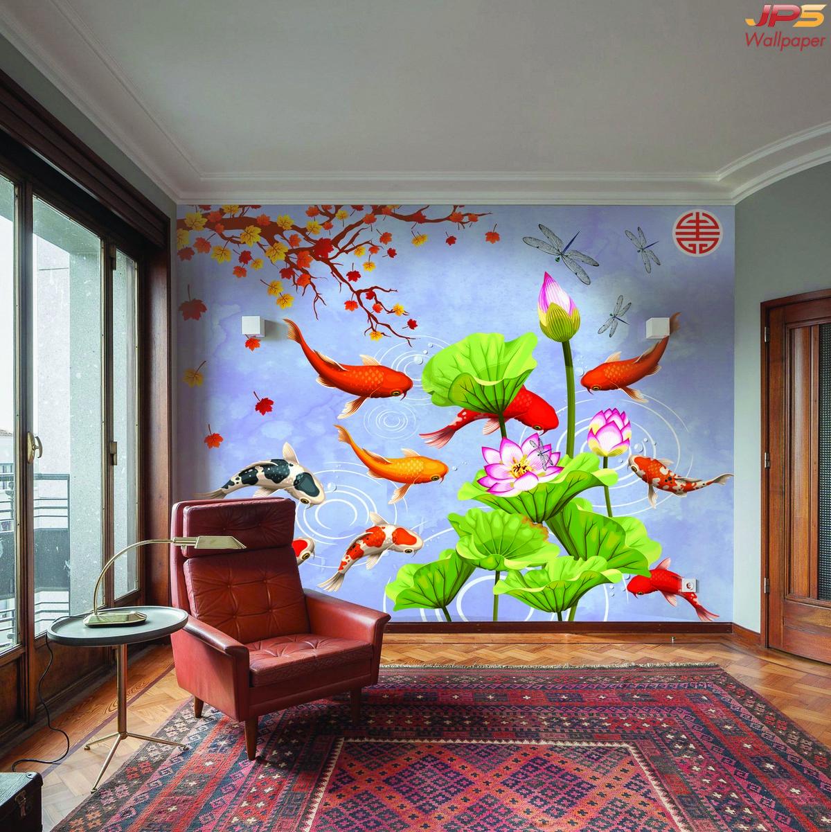 ภาพมงคลติดห้อง  ลายปลาคาร์ฟ 9ตัว ในสระดอกบัว สวยงาม ติดผนังห้องนั่งเล่น  แบบที่ 20-EX