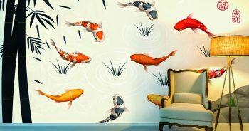 ภาพมงคลแต่งบ้าน ภาพเวกเตอร์ลายปลาคาร์ฟหลากสีสัน ในบ่อฤดูไม้ร่วง ติดผนังห้องนั่งเล่น แบบที่ 28-EX