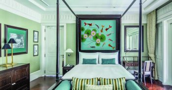 ภาพพิมพ์ฮวงจุ้ย ภาพเวกเตอร์ลายปลาคาร์ฟที่มีสีสัน ดอกบัวในสระน้ำ ติดผนังห้องนอน แบบที่ 35-EX