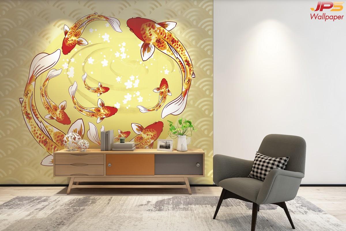 ขายรูปภาพมงคล ลายปลาคาร์ฟ9ตัวสีส้มทอง พื้นหลังคลื่นน้ำสีเหลือง ติดผนังห้องนั่งเล่น  แบบที่ 48-EX