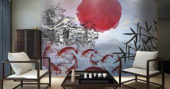 ภาพพิมพ์ฮวงจุ้ย ลายภาพวาดพู่กันจีนโบราณ ปลาคาร์ฟ9ตัว ทิวทัศน์พื้นหลังสีเทา ติดผนังห้องนั่งเล่น แบบที่ 83-EX