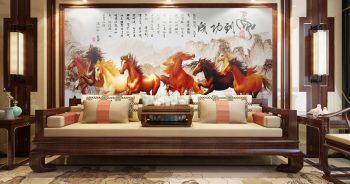 ภาพมงคลเรียกทรัพย์ ลายม้า8ตัว ทิวทัศน์เทือกเขาแบบจีนโบราณ ติดผนังห้องนั่งเล่น แบบที่ 8-EX