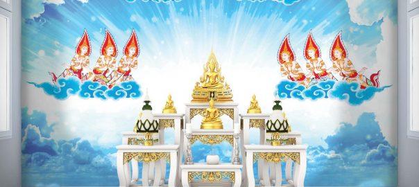 วอลเปเปอร์ พรีเมี่ยมลายไทย เทพพนม พื้นสีฟ้าขาว แบบที่ 2