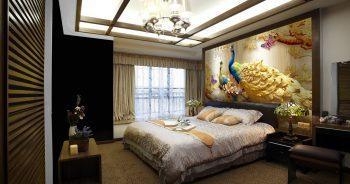 ภาพมงคลติดห้องนอน ปริ้นวอลเปเปอร์ราคาถูก ลายนกยูง ตกแต่งภายในบ้านหรู แบบที่ 1-EX5