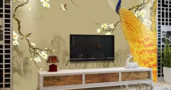 ภาพมงคลแต่งบ้าน ติดห้องรับแขก วอลเปเปอร์สั่งพิมพ์ตามแบบ ลายนกยูง ตกแต่งภายในบ้านหรู แบบที่ 2-EX4