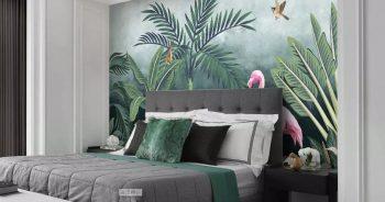 Wallpaper ลาย tropical นกฟลามิงโก้ในป่าดงดิบ สีชมพู ติดผนังห้องนอน แบบที่ 3-EX3