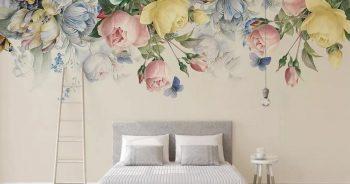 วอลเปเปอร์ตกแต่งห้อง ลายดอกไม้หลากสี3D ติดผนังห้องรับแขก แบบที่ 4-EX1