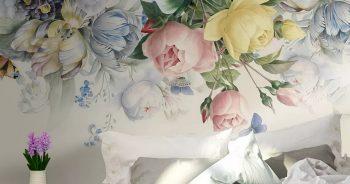 ภาพวอลเปเปอร์ดอกไม้ ลายดอกไม้หลากสี3D ติดผนังห้องนอน แบบที่ 4-EX4