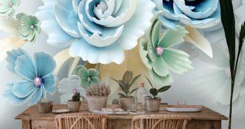 วอลเปเปอร์ตกแต่งห้อง ลายดอกไม้3Dขาวฟ้า ติดผนังห้องรับแขก แบบที่ 9-EX3