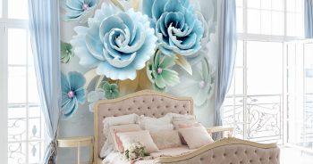 วอลเปเปอร์สั่งพิมพ์ ลายดอกไม้3Dขาวฟ้า ติดผนังห้องนอน แบบที่ 9-EX4