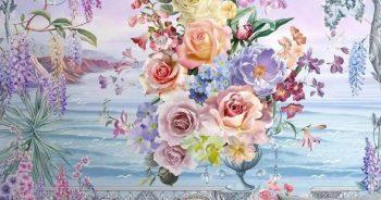 วอลเปเปอร์ตกแต่งห้อง ลายภาพวาดสวนดอกไม้ริมทะเล ติดผนังห้องรับแขก แบบที่ 10-EX2