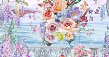 วอลเปเปอร์สั่งพิมพ์ ลายภาพวาดสวนดอกไม้ริมทะเล ติดผนังห้องรับแขก แบบที่ 10-EX3