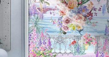 วอลเปเปอร์พิมพ์ลาย ภาพวาดสวนดอกไม้ริมทะเล ติดผนังห้องรับแขก แบบที่ 10-EX4