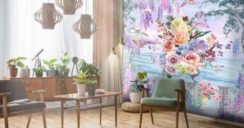 พิมพ์วอลเปเปอร์ ลายภาพวาดสวนดอกไม้ริมทะเล ติดผนังห้องรับแขก แบบที่ 10-EX5