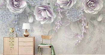 วอลเปเปอร์พิมพ์ลาย ดอกไม้ขาวอมม่วง3D ติดผนังห้องรับแขก แบบที่ 11-EX2