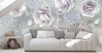 พิมพ์วอลเปเปอร์ ลายดอกไม้ขาวอมม่วง3D ติดผนังห้องรับแขก แบบที่ 11-EX3