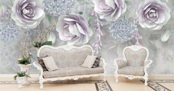 วอลเปเปอร์3D ลายดอกไม้ขาวอมม่วง3D ติดผนังห้องรับแขก แบบที่ 11-EX4