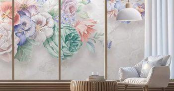 วอลเปเปอร์ลวดลายพรีเมี่ยม ภาพวาดดอกไม้หลายสี3มิติ ติดผนังห้องนั่งเล่น แบบที่ 12-EX1