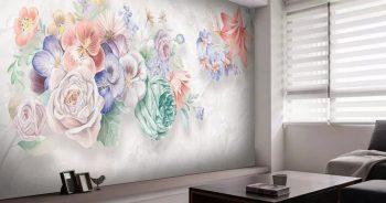 วอลเปเปอร์สั่งพิมพ์ ลายภาพวาดดอกไม้หลายสี3มิติ ติดผนังห้องนั่งเล่น แบบที่ 12-EX2