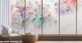 วอลเปเปอร์พิมพ์ลาย ภาพวาดดอกไม้หลายสี3มิติ ติดผนังห้องนั่งเล่น แบบที่ 12-EX3