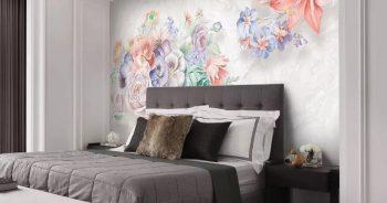 พิมพ์วอลเปเปอร์ ลายภาพวาดดอกไม้หลายสี3มิติ ติดผนังห้องนอน แบบที่ 12-EX4