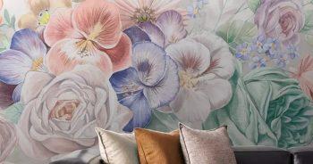 วอลเปเปอร์ตกแต่งห้อง ลายภาพวาดดอกไม้หลายสี3มิติ ติดผนังห้องนั่งเล่น แบบที่ 12-EX5
