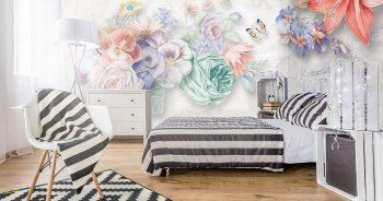 วอลเปเปอร์ลวดลายพรีเมี่ยม ลายภาพวาดดอกไม้หลายสี3มิติ ติดผนังห้องนอน แบบที่ 12-EX8