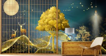 ภาพพิมพ์ฮวงจุ้ย กวางเรนเดียร์ชมจันทร์ กับ ต้นไม้สีทอง ติดผนังภายบ้านให้น่าอยู่ แบบที่ 14-EX2