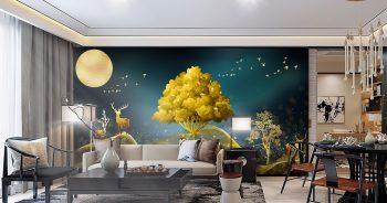 ภาพพิมพ์เสริมมงคล กวางเรนเดียร์ชมจันทร์ กับ ต้นไม้สีทอง ติดผนังห้องนั่งเล่น แบบที่ 14-EX3