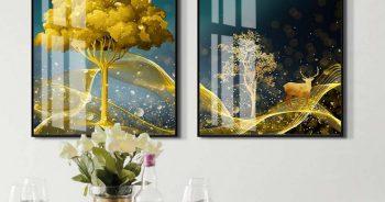 วอลเปเปอร์ลวดลายพรีเมี่ยม กวางเรนเดียร์ชมจันทร์ กับ ต้นไม้สีทอง ติดผนังห้องรับประทานอาหาร แบบที่ 14-EX7