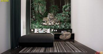 วอลเปเปอร์พิมพ์ลาย สวนป่าเสือโคร่ง ติดผนังห้องนอน แบบที่ 18-A-EX1