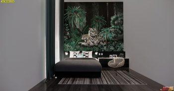 วอลเปเปอร์ติดผนัง ลายสวนป่าเสือโคร่ง ติดผนังห้องนอน แบบที่ 18-A-EX4