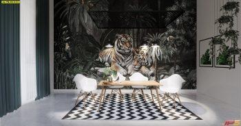 วอลเปเปอร์ลวดลายพรีเมี่ยม ลายสวนป่าเสือโคร่ง ติดผนังห้องรับประทานอาหาร แบบที่ 18-B-EX1