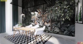 วอลเปเปอร์พิมพ์ลาย สวนป่าเสือโคร่ง ติดผนังห้องรับประทานอาหาร แบบที่ 18-B-EX3