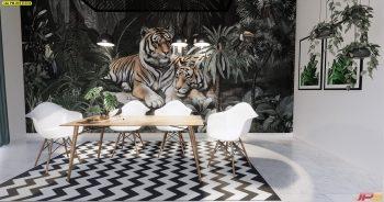พิมพ์วอลเปเปอร์ ลายสวนป่าเสือโคร่ง ติดผนังห้องรับประทานอาหาร แบบที่ 18-B-EX4