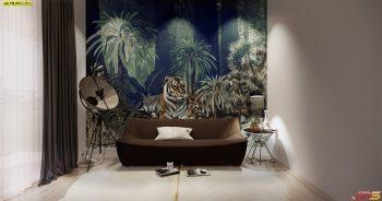 วอลเปเปอร์ตกแต่งห้อง ลายสวนป่าเสือโคร่ง ติดผนังห้องนั่งเล่น แบบที่ 18-C-EX1