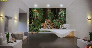 วอลเปเปอร์พิมพ์ลาย สวนป่าเสือโคร่ง ตกแต่งภายในบ้านหรู แบบที่ 18-EX1