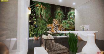 พิมพ์วอลเปเปอร์ ลายสวนป่าเสือโคร่ง ตกแต่งภายในบ้านหรู แบบที่ 18-EX2