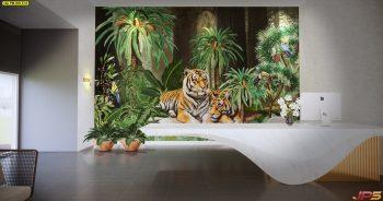 วอลเปเปอร์ตกแต่งห้อง ลายสวนป่าเสือโคร่ง ตกแต่งภายในบ้านหรู แบบที่ 18-EX3