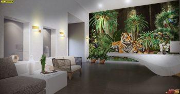 วอลเปเปอร์ติดผนัง ลายสวนป่าเสือโคร่ง ตกแต่งภายในบ้านหรู แบบที่ 18-EX4