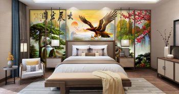 วอลเปเปอร์ติดผนัง ลายนกอินทรี หมึกจีน ติดผนังห้องนอน แบบที่ 20-EX2