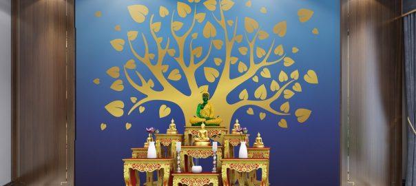 วอลเปเปอร์ ลายต้นโพธิ์ทอง พื้นสีน้ำเงิน
