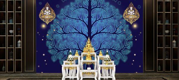 วอลเปเปอร์ ลายต้นโพธิ์ พื้นสีน้ำเงิน