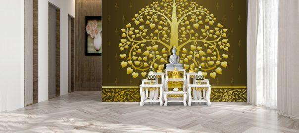 วอลเปเปอร์ ลายต้นโพธิ์ พื้นสีทอง